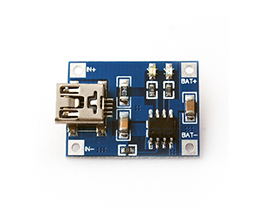 1A Lithium Charging Module [TP4056] Input: 4.5 to 5.5V / Output: 5V - Mini USB - [15]